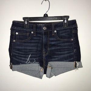 american eagle dark wash jean shorts